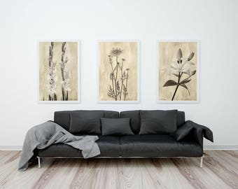 Sepia Botanical Prints Set, Flower Photography Prints, Sepia Floral Prints, Housewarming Gift, Neutral Wall Art Prints Set