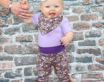 Purple Wishes Baby Harem Pants, Baby and Kids Harem Pant Leggings, Heart Print, Purple Floral Harems
