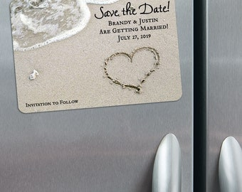 Heart on Beach - Magnet - Save the Date + Envelopes