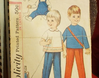 Simplicity 5644 DIY Vintage Toddlers Overalls And Top Sewing Pattern Supply Sz 2 CUT