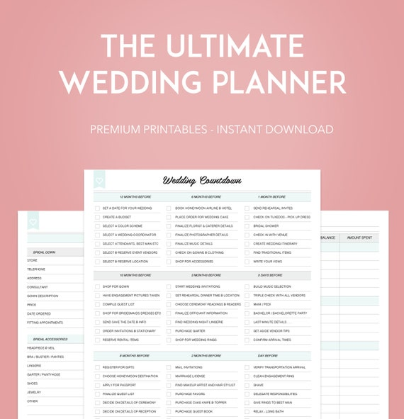 Printable Wedding Planner: The ULTIMATE Wedding Planner INSTANT DOWNLOAD 40 Printable
