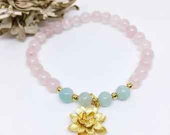 Mala Bracelet, Wrist Mala, Yoga Bracelet, Rose Quartz Mala Bracelet, Amazonite Mala Bracelet, Healing Bracelet, Healing...