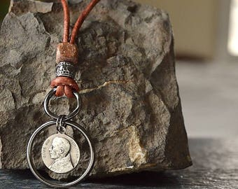 Pius XII Necklace, Catholic Mens Necklace, Catholic Religious Mens Necklace, Leather Cord Necklace, Mens Catholic gift, Confirmation gift