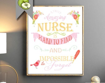 Retirement Gift for a nurse, Nurse Thank you message, an amazing nurse is hard to find,  Leaving, home decor, best wishes, Digital Printable