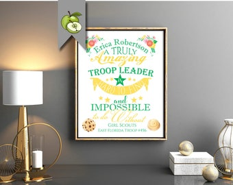 volunteer gift, Girl Scout, troop leader, volunteer thank you, retirement gift, scout helper, A truly amazing mentor, printable, scout day