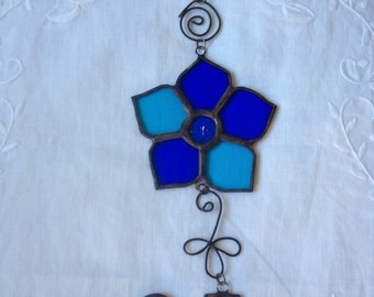 FLOWER MOBILE Blue Colors Wall Hanging,Stained Glass Design