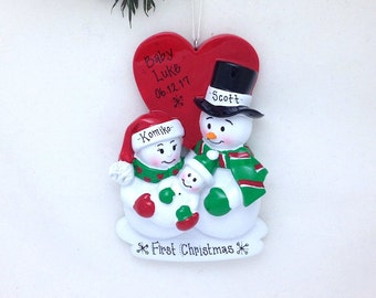 FREE SHIPPING New Parents Christmas Ornament / New Baby Snowmen Ornament / First Christmas Personalized Ornament / New Baby