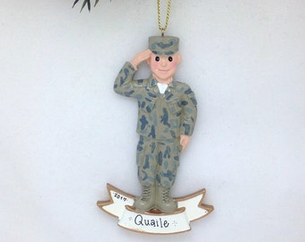 FREE SHIPPING Army White Male Soldier Personalized Christmas Ornament / Army Ornament / Military / Armed Forces