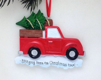 FREE SHIPPING Pick Up Truck with Tree Personalized Christmas Ornament / Toddler Christmas Ornament