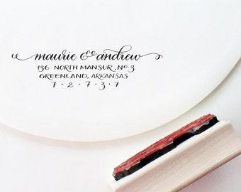 Hand calligraphy customized address stamp   wedding gift   housewarming   stationery