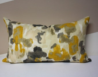 "12x20 Robert Allen lumbar pillow cover, 12""x20"" Brown/Yellow pillow cover, Fall pillow cover, Fall decor, fall color lumbar pillow"