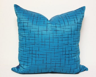 Blue modern pillow, Cobalt and Indigo blue decorative pillow cover, peacock pillow cover, Luna textiles, mid-century modern blue pillow
