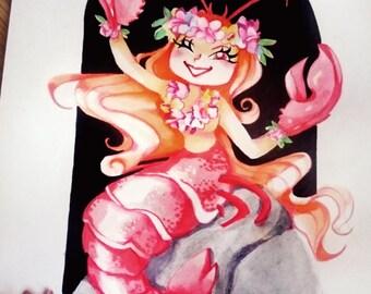 Hawaii Mermaid Lobster print 6x4 - Cute Kawaii Zeichne Kunstdruck Meerjungfrau Sirena Sereia