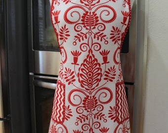 Red and White Damask Christmas / Valentine's Day / Anytime Apron / Glam / Cute / Pineapple / Holiday Hostess Apron