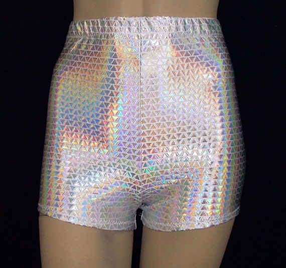 Hot Pants Shorts Metallic Silver Triangles Hologram On White