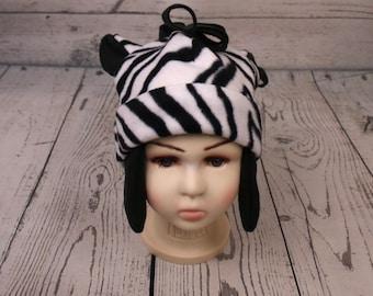 Adult Zebra Fleece Hat