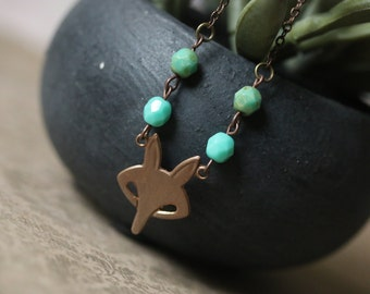 Little Copper Fox necklace with teal Czech glass delicate minimal cute woodlands jewelry whimsical fairy tale trendy boho chic necklace