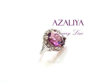 Silver Plated Princess Ring. Zirconia Ring. Engagement Ring. Ring with Stone. Purple Ring. Lavender Stone Ring. Ring Gift.
