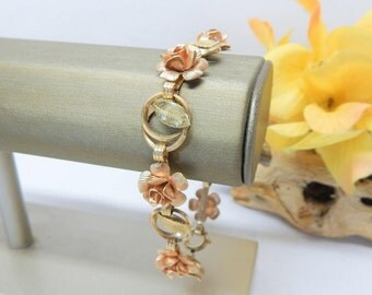 Vintage Krementz Flower Bracelet Yellow and Rose Gold Plated