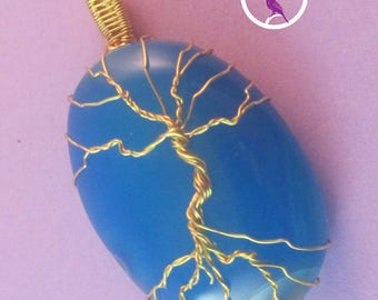 Blue Onyx Tree of Life Pendant, Blue Tree Pendant, Gold Tree Pendant, UK