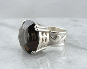 Bold Smoky Quartz Statement Ring in Sterling Silver N6EEQ9-R