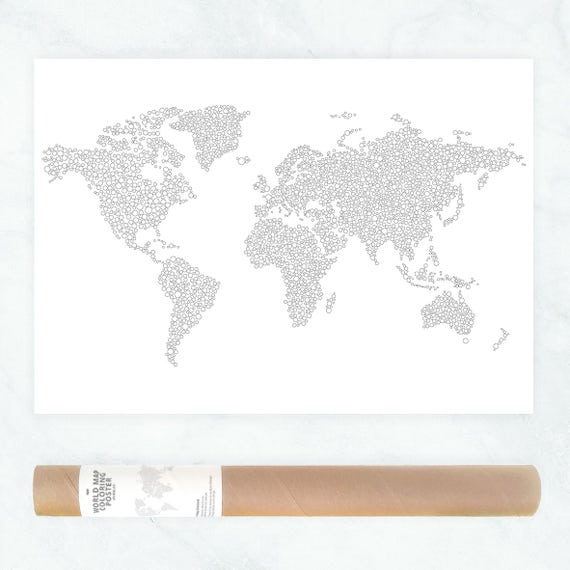 World Travel Map Poster World Map Coloring Page Adult