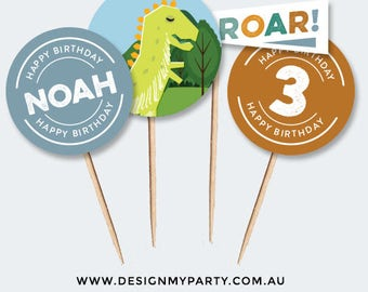 Dinosaur Cupcake Toppers (Personalised DIY Printables)