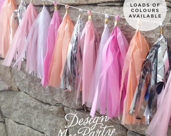 Pretty In Pink  Glam - Peach, Raspberry, Silver Tassel Garland