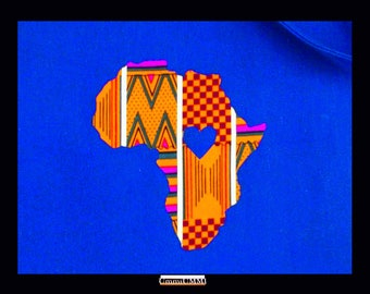No Sew Iron-On Africa With Metallic Gold Detail And Cutout Heart