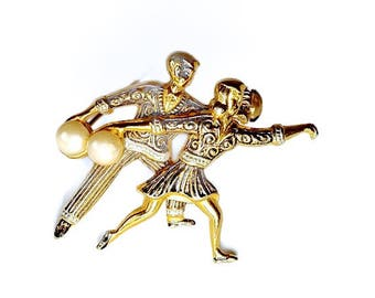 Spanish Damascene Style Toledoware Brooch,50s Style Figural Brooch with Bowling Couple,Unusual Brooch,Vintage Novelty Jewelry,Faux Pearl Pin