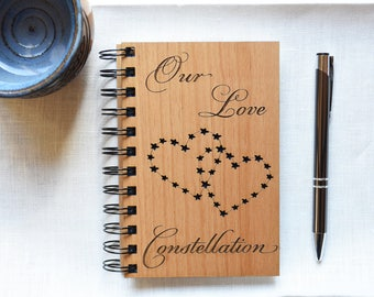 Love Heart Constellation Wooden Spiral Notebook. Wedding Gift for Him, for Her. Wooden Anniversary Gift for Couples.