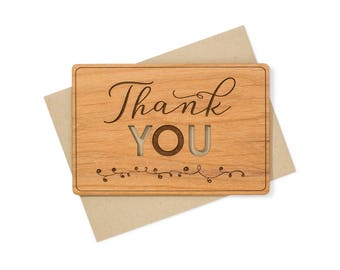 Unique Thank You Card - Thank You Wood Card - Personalized Thank You