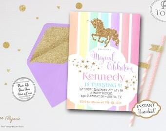 INSTANT DOWNLOAD - Pastel Rainbow Unicorn Birthday Party Invitation - Glitter Unicorn Invite - Rainbow Party - Unicorn Party - Gold 0449