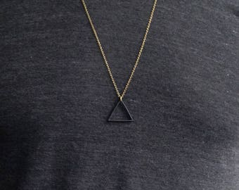 BLACK Triangle Necklace / Custom Chain, Long Necklace / Matte Black Triangle Pendant Necklace / Unisex Mens Necklace / Bohemian Fringe