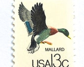 Unused Vintage Mallard Duck Postage Stamps // 13 Cent Mallard Duck Postage Stamps for Mailing