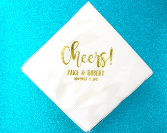 Wedding Napkins Cheers Custom Gold Foil Beverage