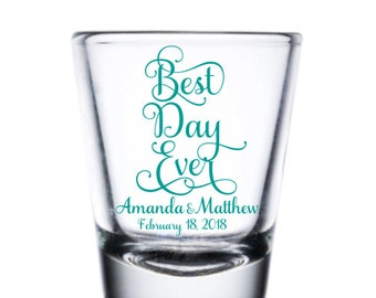 Wedding Shot Glass, Best Day Ever Shot Glass, Custom Shot Glass, Personalized Shot Glass, Wedding Favor Shot, Party Shot Glasses, Fun Shot