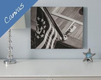 Nautical wall art, Lake house decor, Canvas Nautical art, Nautical wall decor, Boat art, Canvas art sepia, Vintage boat / Yacht Flag Canvas