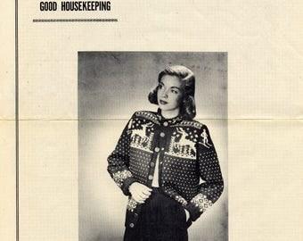 Vintage knitting pattern for Ski Cardigan, Good Housekeeping reprint leaflet, 1940s, 1950s