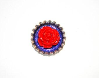 NEW Bottle Cap Magnet - Red 3-D Rose - Single Magnet