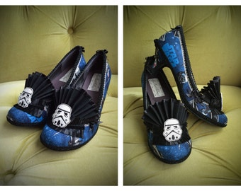 Star Wars Inspired Shoes Heels Cosplay Stormtrooper Costume Death Star Fantasy Galaxy SciFi Wedding Heels Blue and Black Ruffle Size 8.5