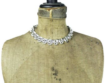Silver Collar Necklace, Silver Link Necklace, Chunky Silver Necklace, Silver Choker Necklace, Silver Chain Necklace
