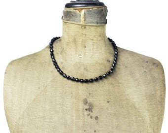 Vintage Black Glass Bead Necklace, Black Bead Necklace, Black Necklace