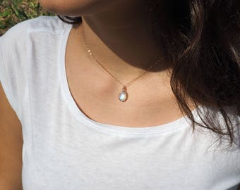 Rose Gold Moonstone Necklace, Oval Moonstone Necklace in Rose Gold, Rainbow Moonstone Necklace in Rose Gold