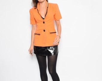 Vintage 90's Orange Linen Jacket / Embellished Button Jacket - Size Extra Small