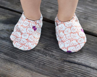 Cats on Cats Baby Shoes // Orange Whtie Purple, Vegan Cotton, Infant Shoes, Baby Booties, Baby Moccasins, Crib Shoes, Baby Boy Girl Moccs
