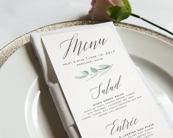 Watercolor Greenery Wedding Menu Card, Eucalyptus, Rustic Watercolor Wedding