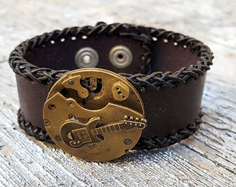 Steampunk Guitar Leather Wristband Cuff -Steampunk Bracelet-Steampunk cuff-steampunk Girlfriend Ladies gift