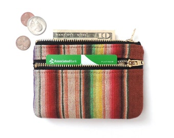 Stripe Wallet Coin Purse Double Zipper Pouch