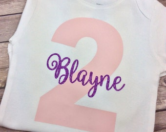 Color Choice - Light Pink and Purple Glitter Personalized Birthday Onesie / Shirt for Birthday Girl, Two Year, Second Birthday, 2 Year Old